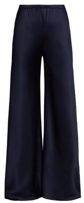 The Row Gala Kick Flare Silk Satin Trousers - Womens - Navy