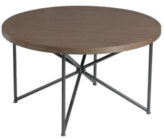 Bronx Ivy Emerald Home Kwan Brown And Black Round Coffee Table With Wood Top And Metal Base Ivy