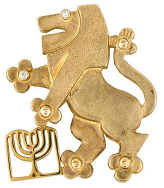 14K Jewish United Fund Lion Diamond Brooch Pendant