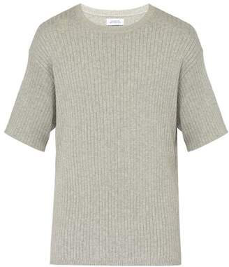 Saturdays NYC Pacho Split Ribbed Knit Cotton Blend T Shirt - Mens - Grey