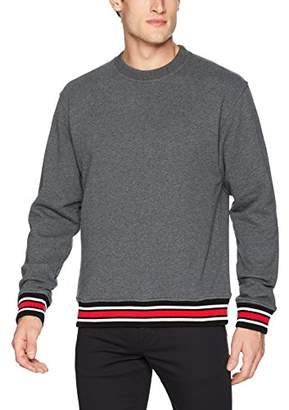 The Kooples Men's Crew Neck Sweatshirt with Contrasting Ribbed Detail