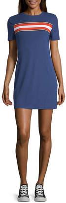 Arizona Short Sleeve Striped T-Shirt Dresses - Juniors