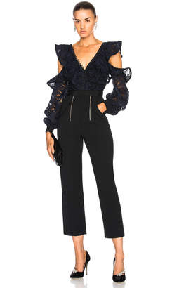 Self-Portrait Self Portrait Camo Lace Frill Jumpsuit