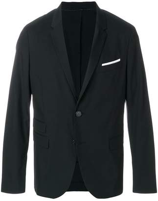 Neil Barrett contrast welt blazer