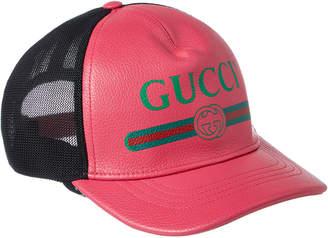 ede40e4a65499 Gucci Logo Print Leather Baseball Hat