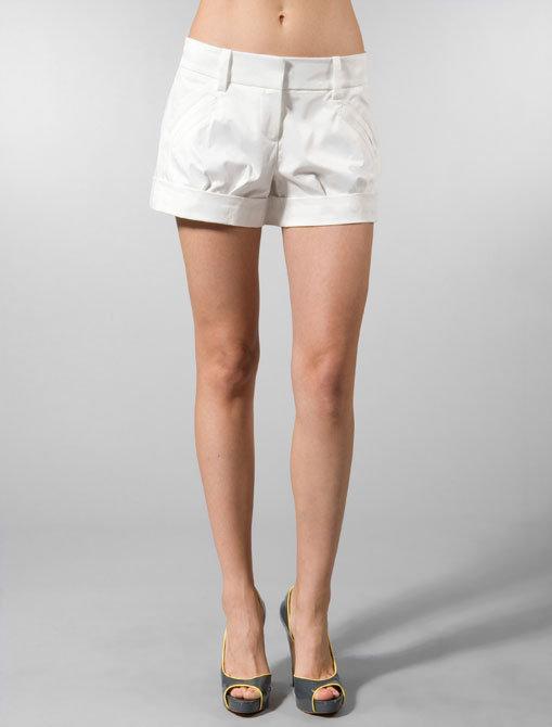 Trina Turk Slub Satin Victor Shorts in White