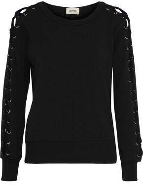 L'Agence Mirana Lace-Up Fleece Sweatshirt