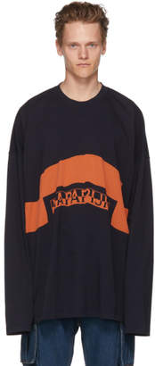 Martine Rose NAPA by Navy and Orange Long Sleeve Siri T-Shirt