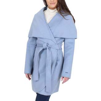 T Tahari Womens Marla Winter Wool Blend Wrap Coat Blue L