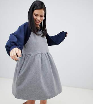 Monki jersey color block smock dress in gray