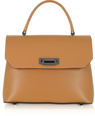 Le Parmentier Lutece Medium Caramel Leather Top Handle Satchel Bag