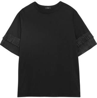 Clu Pleated Organza-trimmed Silk-jersey T-shirt - Black