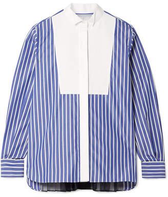 Sacai Piqué And Organza-trimmed Striped Cotton-poplin Shirt - Azure