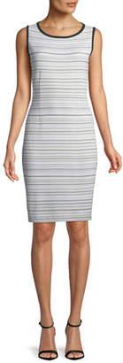 Misook Neutral Striped Sleeveless Sheath Dress, Plus Size