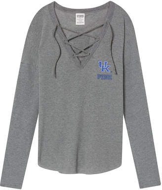 PINK University Of Kentucky Lace-Up Waffle Campus Tee