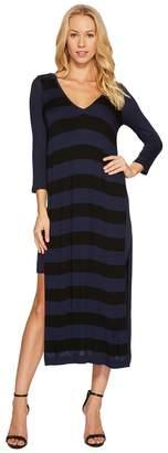 Three Dots Featherweight Stripe Double V-Neck Dress Women's Dress