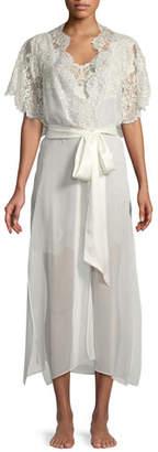 Christine Designs Beloved Lace-Trim Long Silk Robe