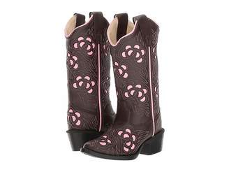 Old West Kids Boots Inlay Toe Leatherette (Toddler/Little Kid)