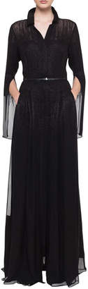 Akris Shirt-Collar Pleated-Skirt Metallic Georgette Evening Gown
