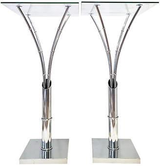 One Kings Lane Vintage Chrome Glass-Top Side Tables - Set of 2 - Jacki Mallick Designs