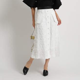 aquagirl (アクアガール) - アクアガール aquagirl ◆AKIRA NAKA フロントボタンレースタイトスカート (ホワイト)