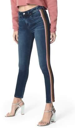 Joe's Jeans Charlie Metallic Stripe High Waist Ankle Skinny Jeans