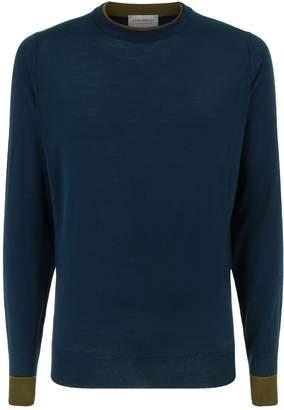 John Smedley Tipped Collar Merino Wool Sweater