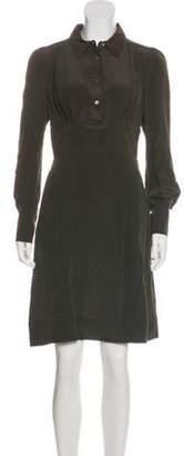 Prada Pointed Collar Knee-Length Dress green Pointed Collar Knee-Length Dress