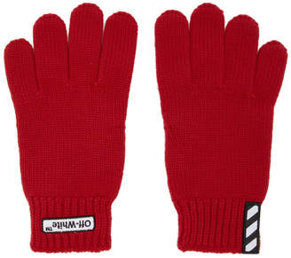 Off-White Off White Red Patch Gloves