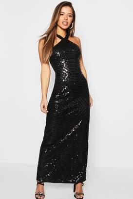 boohoo Petite Sequin Bodycon Maxi Dress