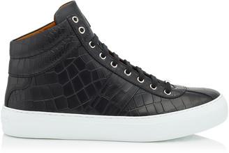 Jimmy Choo BELGRAVIA Black Croc Embossed Leather High Top Sneakers