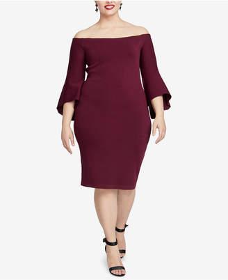 Rachel Roy Plus Size Off-The-Shoulder Sweater Dress