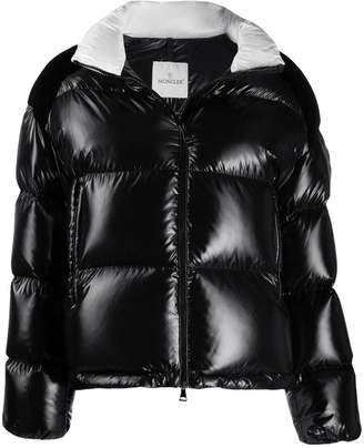 Moncler contrast collar logo zipped jacket
