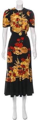 Dolce & Gabbana Embellished Bread & Poppy Print Dress