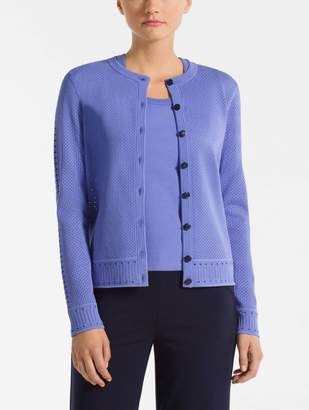 St. John Pointelle Panel Knit Cardigan