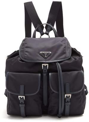 Com Prada Classic Leather Trimmed Nylon Backpack