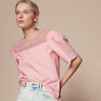 Sandro Cotton top with lace inset