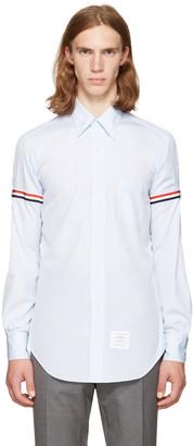 Thom Browne Blue Classic Grosgrain Armband Shirt $480 thestylecure.com