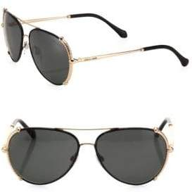Roberto Cavalli 58MM Leather Aviator Sunglasses
