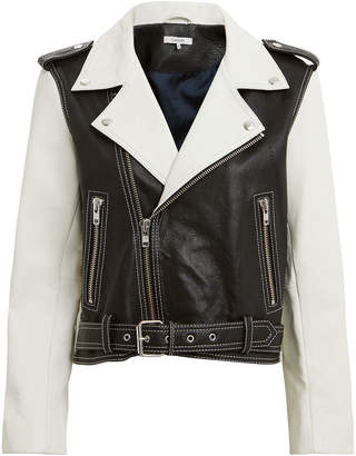 Ganni Heavy Leather Black And White Combo Jacket