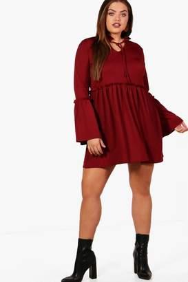 boohoo Plus Ruffle Detail Smock Dress