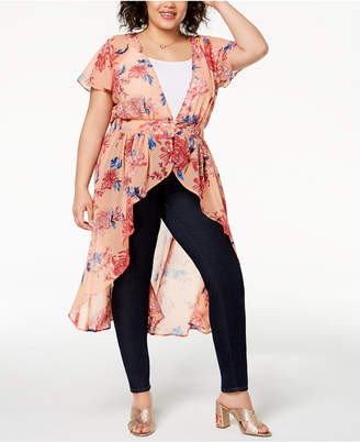 Planet Gold Trendy Plus Size Printed High-Low Duster Top
