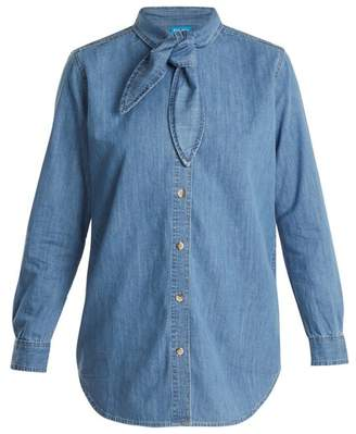 MiH Jeans Booker Neck Tie Cotton Denim Shirt - Womens - Mid Blue