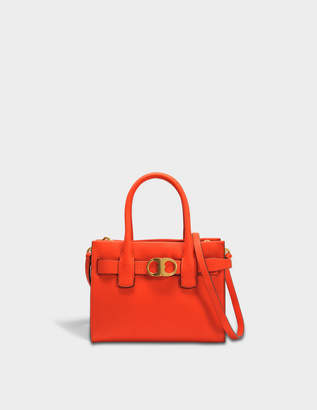 Tory Burch Gemini Link Small Tote Bag in Orange Calfskin