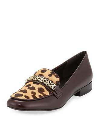 Tory Burch Gemini Link Calf-Hair Loafer, Coconut/Leopard $375 thestylecure.com