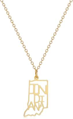 """Kris Nations Indiana -Plated State Necklace, 18"""""""