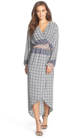 Women's Fraiche By J Print Wrap Maxi Dress