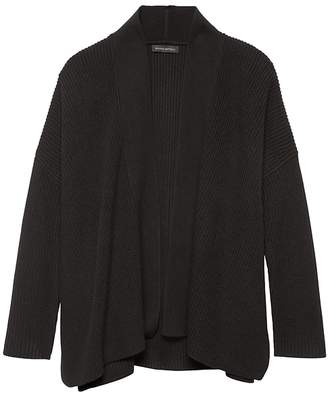 Banana Republic Machine-Washable Merino Wool Blend Rib-Knit Cardigan