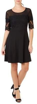 ABS by Allen Schwartz COLLECTION Women's Short Sleeve Embroidered Dress