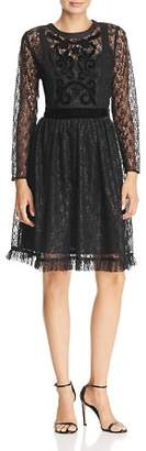 Nanette Lepore nanette Velvet-Trimmed Lace Dress
